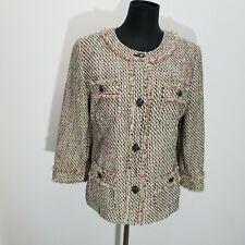 Talbots Women Jacket Sz 8 Tweed Fray Trim Pink Green Classic Lined Button Blazer