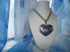 ENAMEL HEART PENDANT NECKLACE ON DOUBLE FOXTAIL CHAIN **FREE GIFT BAG**