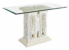 Stylish Mactan Stone Tower Console Table With Glass Top