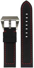 22mm Panatime Black Kevlar Style Watch Band w/Red Stitching 22/22 125/75