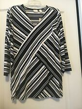 Chico's Sz 3 (16) Black & White Striped 3/4 Sleeve Knit Tunic! Free Ship!
