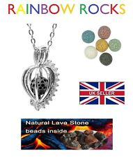 Silver Aromatherapy Austrian Crystal Diffuser Necklace Locket Lava Bead Bola