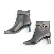MARKON Womens Sz 9.5M Black Leather High Block Heel Fashion Ankle Boots Booties