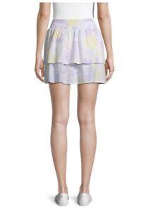 No Boundaries Womens Smocked Mini Skirt XL (15 - 17) Tier Tie Dye Pastels *NWT*