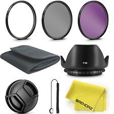 Filter Kit UV CPL FLD + Hood +Cap +wallet f CANON EOS SL2 Camera w/ 18-55mm Lens