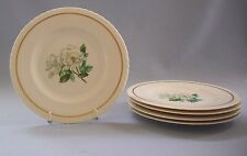 Hanover China Silver Rose Bread Butter Plates 5 Pieces Gold Trim Scalloped Edge