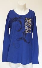 Old Skool Long Sleeve Women Graphic T Shirt Blue /Gold Plus Size 3X Thermal Top