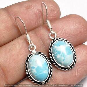 Larimar Earring 925 Sterling Silver Plated Earring Jewelry E-163