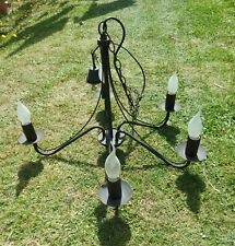 Vintage Large Black Wrought Iron Style Metal Gothic Chandelier 5 Arms