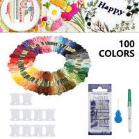 100 Stickgarne Packung 8m 6-fädig Multicolor Kreuzstichgarne Mehrfarbig Set DE