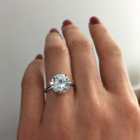 2.00CT Round Cut D/VVS1 Diamond Solitaire Engagement Ring in 14k White Gold Over