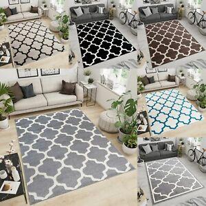 Moroccan Rug Trellis Grey Black Cream Living Room Bedroom Home Decor Area Rugs