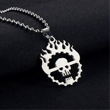 Personality Flame Skull Silver Stainless Steel Titanium Pendant Necklace AW20 P