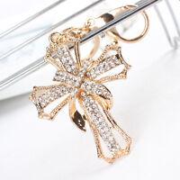 New Arrive Cross Flower Charm Pendant Crystal Purse Bag Key Chain Ring Gift