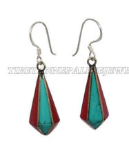 Turquoise Earring Tribal Earring Nepal Earring Tibetan Earring Silver Earring