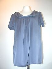 'PLANET' LOOSE FITTING FADED BLUE SILK PULLOVER BLOUSE WITH RUCHED NECK 45-48""