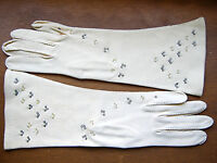 Vintage Ladies Van Raalte Long Cotton Gloves Seed Pearls Rhinestones Size 7