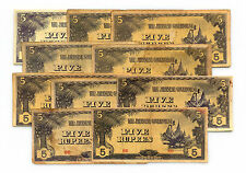10 Five Rupees Burma WW2 1940's Japanese invasion paper money circ.