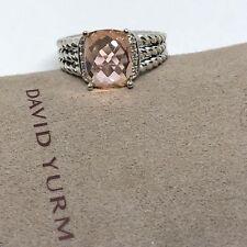 David Yurman Sterling Silver Petite Morganite Wheaton Ring Size 6