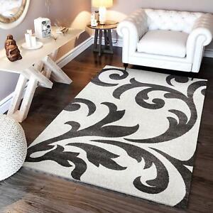 Super Area Rugs Contemporary Modern Damask Area Rug in Ivory