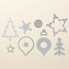 Stampin Up Sizzix Festive Stitching Thinlits Dies NEW - Christmas Tree Star Snow