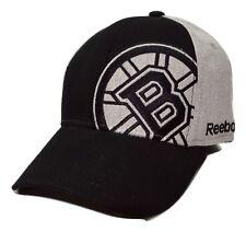 Boston Bruins Reebok M022Z Nhl Gray & Black Stretch Fit Hockey Cap Hat S/M