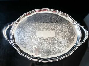 Vintage Silver Plate Chippendale Tray Butler Tray Oval Serving Tray