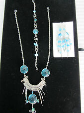 Necklace Bracelet Earrings Set Peru Glass 3 piece set Nickel Silver New