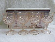 Vtg Boxed Set 4 Indiana Glass Diamond Point Pastel Pink Wine Goblet Juice Set