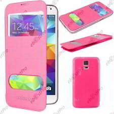 Accessoire Housse Coque Etui S-View Flip Cover Rose Samsung Galaxy S5 G900F