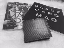 Men Matte Black Carbon Fiber + Black Soft Calf Leather Bi-Fold Wallet