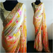 Sari Indian Bollywood SEQUANCE Saree Lace Border Designer Party Wear With Blouse