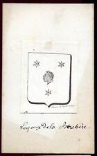 """ancien dessin à la plume . héraldique blason """" Le Goux De La Berchère """" Prélat"""