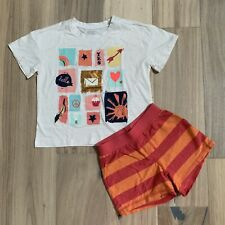 Gymboree Tea Collection Girls 5 Outfit Set Graphic Tee Striped Orange Shorts