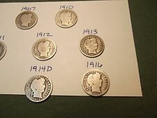 upick ONE date from this group of silver Barber Dimes #2