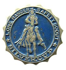 c. 1934 LONE RANGER SILVER CUP SAFETY SCOUT pinback button badge radio premium
