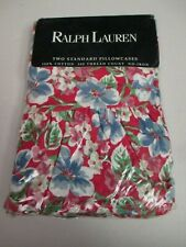 Ralph Lauren Falmouth Red Blue White Green Floral Ruffled 2 Standard Pillowcases