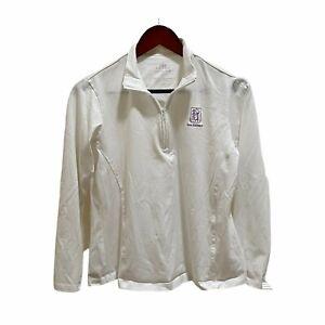 Peter Millar Women L Moisture Management White 1/4 Zip Pullover Long Sleeve Golf