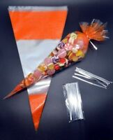 """50 - ORANGE Cone Cellophane Sweet / Party Bags With 4"""" Silver Twist Ties"""