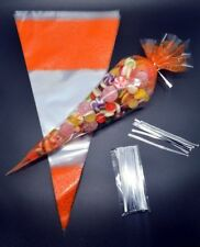 "50 - ORANGE Cone Cellophane Sweet / Party Bags With 4"" Silver Twist Ties"