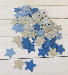 "Confetti 1"" Paper Stars Glitter Silver Color with Blues Birthday Wedding"