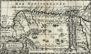 Egypt Libya North Africa Tripoli Nubia Nile Mediterranean coast 1699 Sanson map