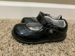 Stride Rite Baby Girls Shoes Sz 4.5 W Black Patent Leather Dress Shoes Mary Jane