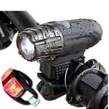 New USB Rechargeable Bike Bicycle Front Headlight + Tail Rear Warning Lamp Torch