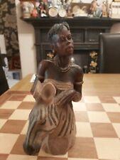 "Dave Grossman Creations Statuette 1998 African Maasai Tribal Woman with Zebra 8"""