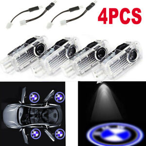 4Pcs LED Door Projector Courtesy Puddle Shadow Laser Light Lamp Logo Fit For BMW