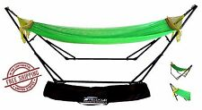 Green Double Hammock With Sturdy Space Saving Steel Stand W/ Portable Bag New