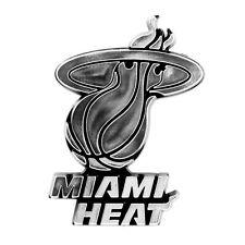 Miami Heat Raised Silver Chrome Color Molded Auto Emblem Decal Basketball