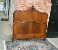 French Antique Carved Walnut Louis XV Full Size Bed | Bedroom Furniture