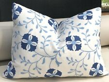 Blue & White Floral Embroidery pillow cover rectangle 14 x 20